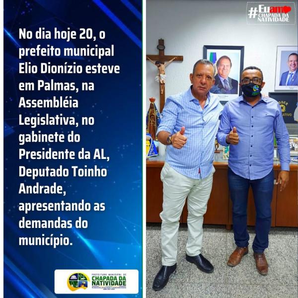 O PREFEITO MUNICIPAL ÉLIO DIONÍZIO ESTEVE EM PALMAS, NA ASSEMBLÉIA LEGISLATIVA.