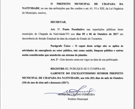 DECRETA FERIADO E PONTO FACULTATIVO