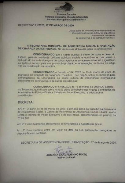 Decreto publicado pelo o CRAS de Chapada da Natividade